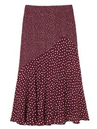 Fat Face BURGUNDY Ellie Spot Midi Skirt - Size 6 to 18