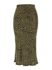 Capsule KHAKI Animal Print Satin Column Midi Skirt - Plus Size 18 to 22