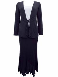 Karida BROWN Panelled Jersey Top & Skirt Set - Plus Size 12 to 20