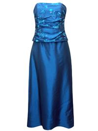 Karida BLUE Strapless Sequin Embellished Top & Skirt Set - Size 10 to 18