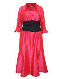 Karida HOT-PINK Contrast Waist Dress & Bolero Set - Plus Size 12 to 22