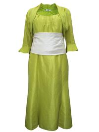 Karida LIME Contrast Waist Dress & Bolero Set - Plus Size 12 to 22