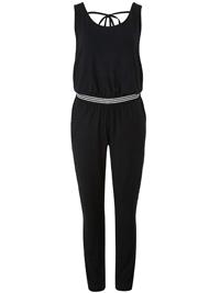 LabelBe BLACK Striped Waist Jumpsuit - Plus Size 12 to 28