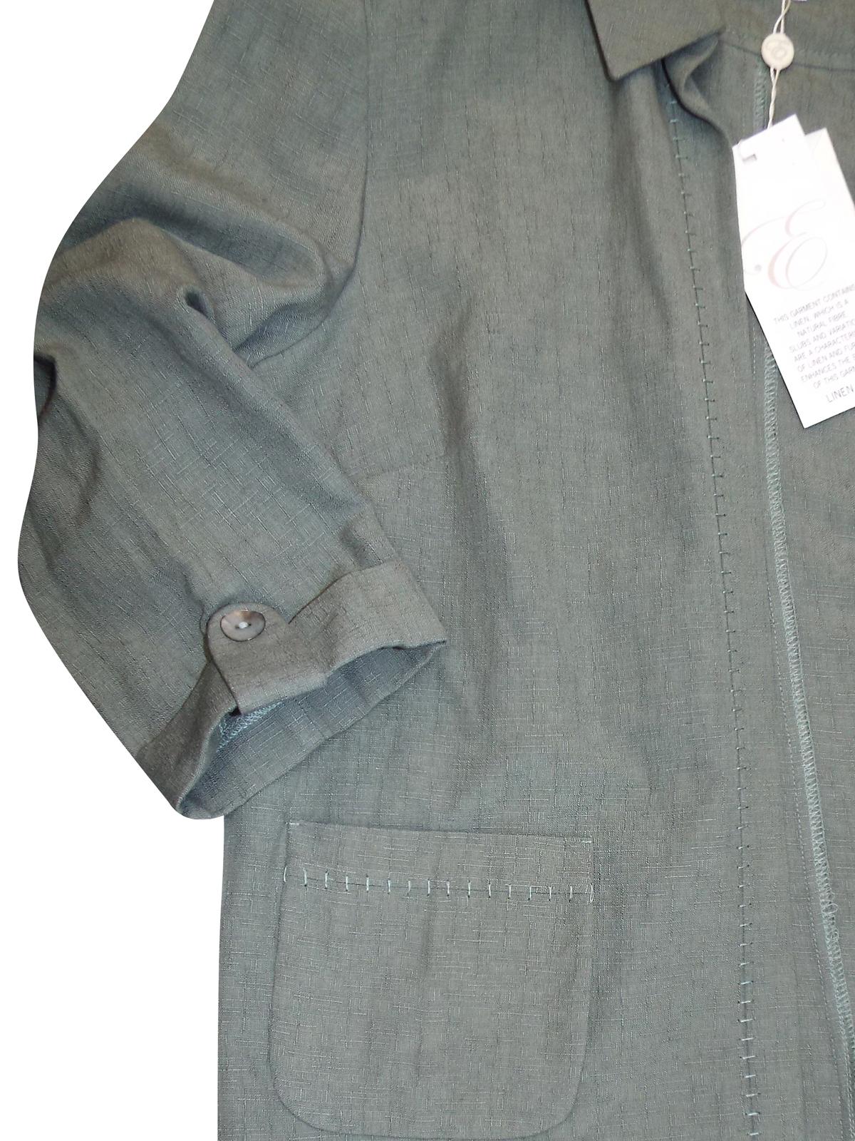 Eastex Khaki Linen Blend Open Front Exposed Stitch Jacket