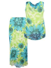 Jazzie Women LIME 2-Piece Daisy Print Chiffon Blouse & Skirt Co-Ord Set - Plus Size 14/16 to 22/24 (US 1X to 3X)
