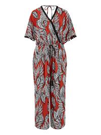 Capsule ORANGE African Print Crinkle Wrap Jumpsuit - Plus Size 12 to 30
