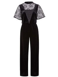 Anthology BLACK Velour & Lace Jumpsuit - Plus Size 24 to 26