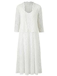 Nightingales IVORY Occasion Lace Dress & Jacket - Size 10 to 14