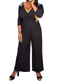 Scarlett & Jo BLACK Embellished Shoulder Wrap Jumpsuit - Plus Size 16 to 32