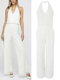 IRREGULAR  M0NSOON IVORY Diana Sequin Bridal Halter Jumpsuit - Size 8