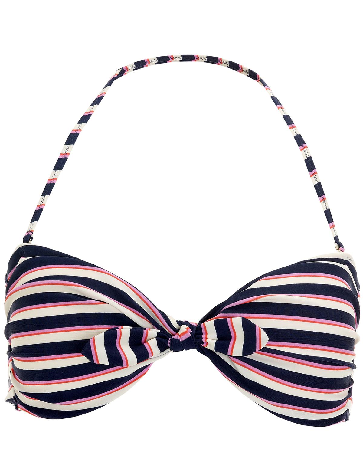 Accessor1ze BLUE Nautical Twist Bow Knot  Bandeau Bikini Top - Size 8 to 18