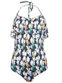 T0PSH0P BLACK Floral Print Halterneck Frill Swimsuit - Size 6 to 10