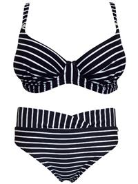 Naturana BLACK Stripe Print Underwired Bikini Set - Size 10 (EU 38)