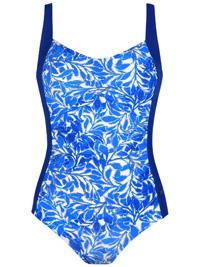 Naturana ROYAL-BLUE Leaf Print Scoop Back Swimsuit - Size 10