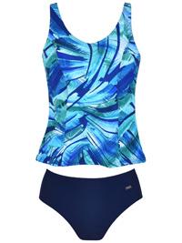 Naturana BLUE Printed Padded Tankini Set - Size 10