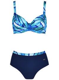 Naturana BLUE Printed Wired High Waist Bikini Set - Size 10