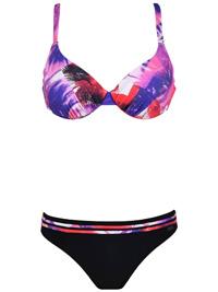 Naturana RED Palm Print Padded & Wired Bikini Set - Size 10