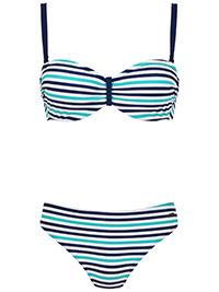 Naturana BLUE Striped Padded & Wired Bikini Set - Size 10
