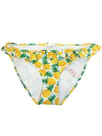 ACCESSOR1ZE YELLOW Tropical Pineapple Print Frill Bikini Bottoms - Size 6 to 18