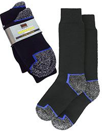 M&5 Mens BLACK/GREY 2-Pack Freshfeet Heavyweight Work Socks - Shoe Size 8/9.5 to 10/12