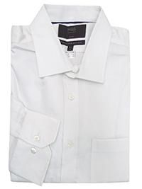M&5 WHITE Slim Fit Non Iron Twill Shirt - Collar Size 15.5 to 17