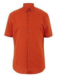 Big&Tall Mens M&5 ORANGE Easy Iron Linen Blend Shirt - Size M to XXXXL