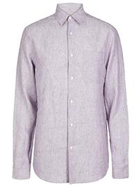 Big&Tall Mens M&5 DARK-LILAC Pure Linen Shirt with Pocket - Plus Size XXXL to XXXXL