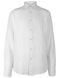 Big&Tall Mens M&5 WHITE Pure Linen Shirt with Pocket - Plus Size XXXL