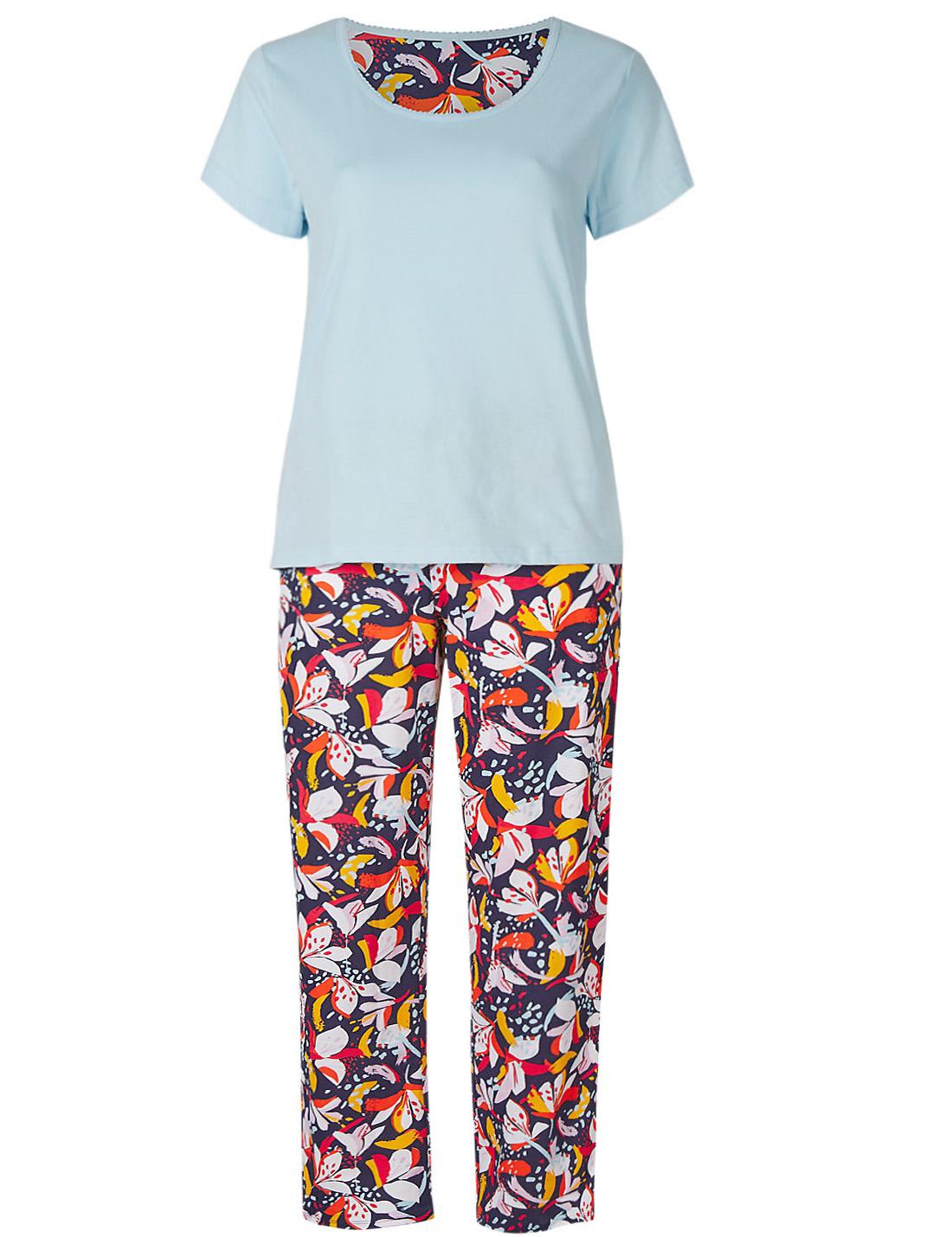 M /& S Navy Mix Pure CottonFloral Print Long Sleeved Pyjama Set