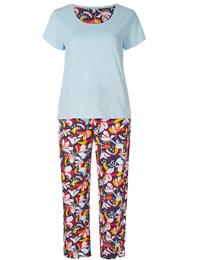 M&5 BLUE Mix Pure Cotton Floral Print Pyjama Set - Size 6/8 to 24/26