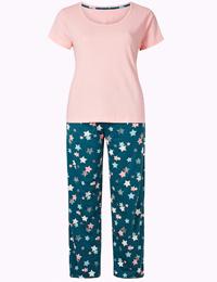 M&5 BLUE Mix Pure Cotton Star Print Pyjama Set - Size 6/8 to 24/26
