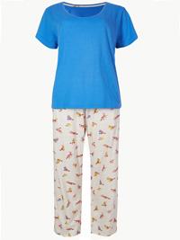 M&5 OATMEAL Mix Pure Cotton Fox Print Pyjama Set - Size 6/8 to 20/22