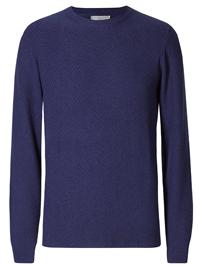 M&5 Mens ROYAL-BLUE Pure Cotton Textured Jumper - Size Medium