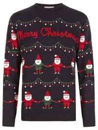 M&5 Mens NAVY Novelty Christmas Santa Jumper - Size Small to XXLarge