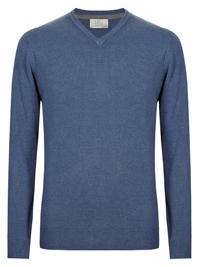 M&5 SLATE-BLUE Cashmilon V-Neck Jumper - Chest Size 36/38 to 38/40