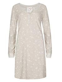 M&5 MOCHA Cotton Rich Snowflake Print Long Sleeve Nightdress - Plus Size 12 to 18