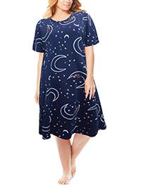 M&5 NAVY Pure Cotton Stars, Moon & Bear Print Nightdress - Size 6 to 26