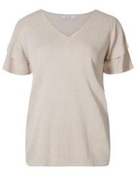 P3rUna LIGHT-PUTTY V-Neck Angel Sleeve Jumper - Size 8 to 24