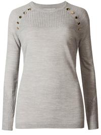 M&5 GREY Cashmilon Ripple Button Shoulder Jumper - Plus Size 18 to 22