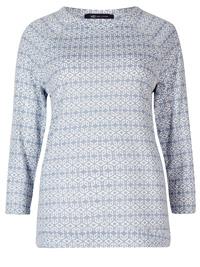 M&5 PALE-BLUE Geometric Print 3/4 Sleeve T-Shirt - Plus Size 18 to 24