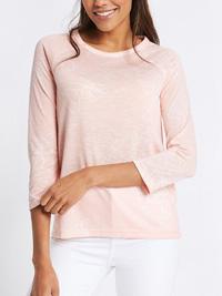 M&5 PINK Floral Print 3/4 Raglan Sleeve T-Shirt - Plus Size 18 to 24