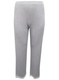M&5 OATMEAL Lace Trim Pyjama Bottoms - Size 16