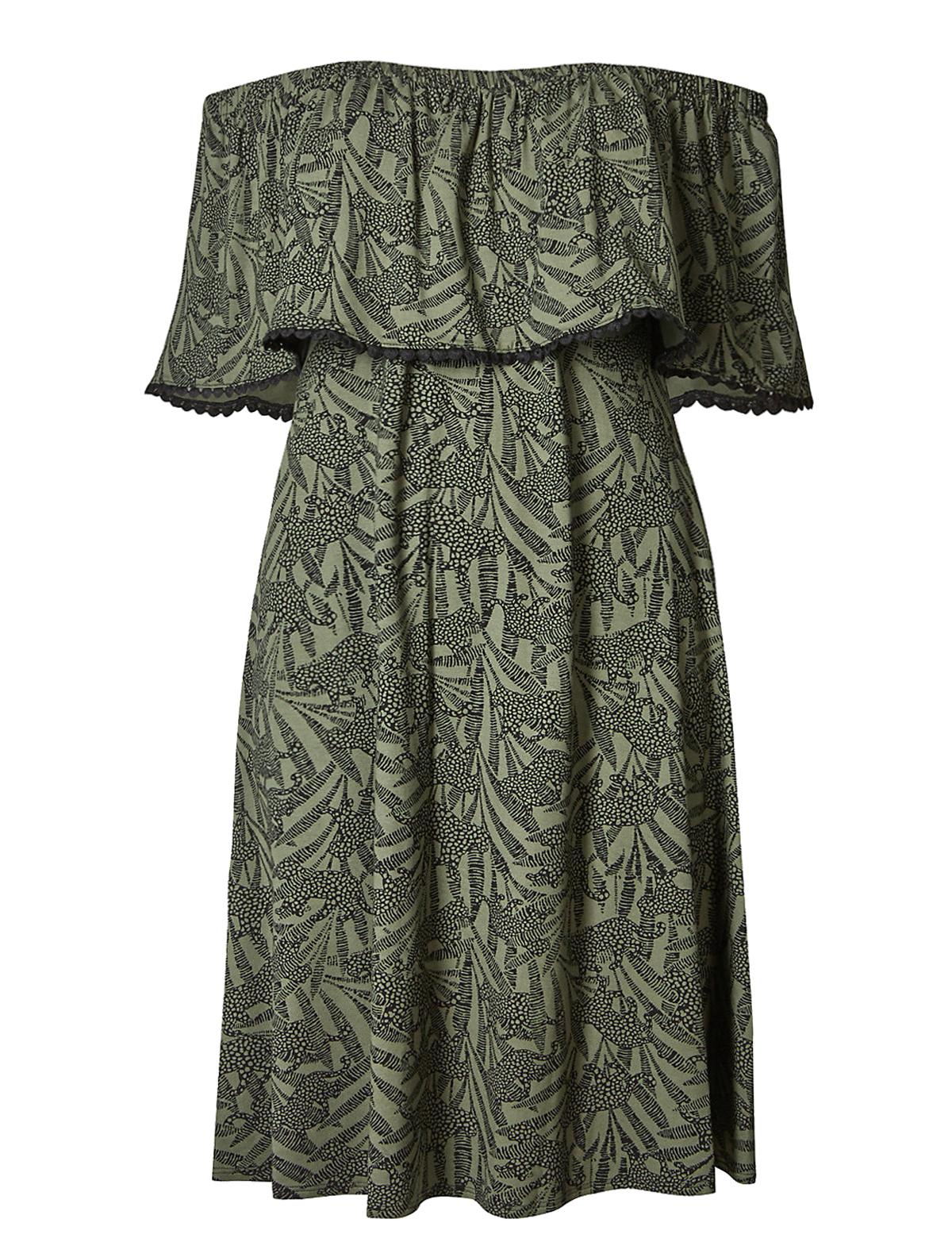 f0de1ac2cbbe Marks and Spencer - - M&5 KHAKI Animal Print Pom Pom Bardot Swing Dress -  Size 8 to 22
