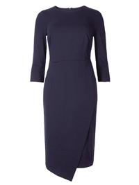 M&5 BLUE Wrap 3/4 Sleeve Bodycon Midi Dress - Size 6 to 22 (Short-Regular)
