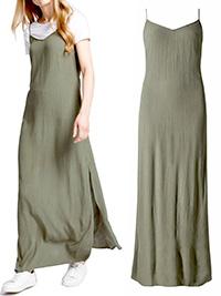 M&5 KHAKI Crinkle Maxi Dress - Size 6 to 22