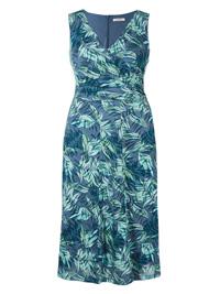 M&5 BLUE Cotton Rich Burnout Print Dress - Size 8 to 24