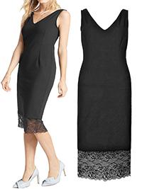 M&5 BLACK Cool Comfort V-Neck Lace Tuelle Hem Bodycon Dress - Size 8 to 18