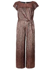 M&5 BRONZE Metallic Knot Detail Short Sleeve Jumpsuit - Plus Size 20 to 22