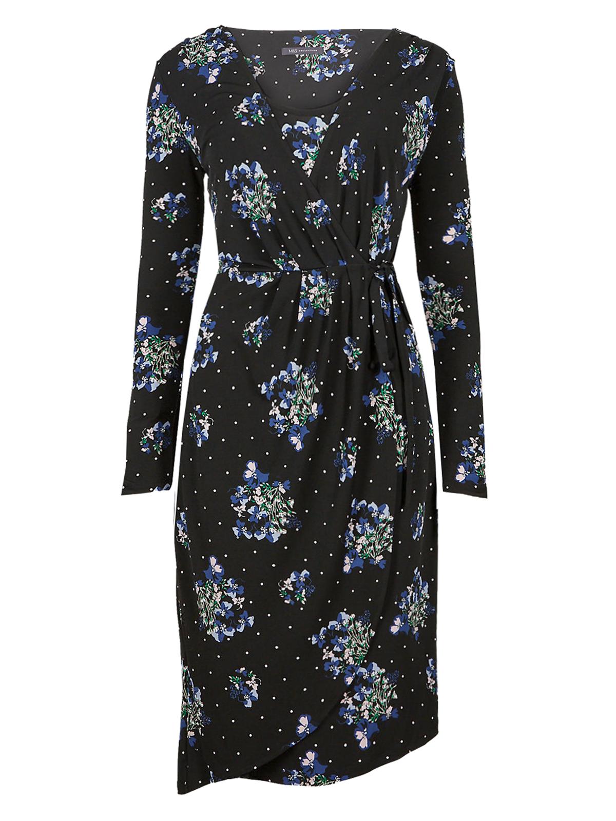 74dc055dede9d Marks and Spencer - - M&5 BLACK Floral Print Asymmetric Wrap Midi Dress -  Size 6 to 22
