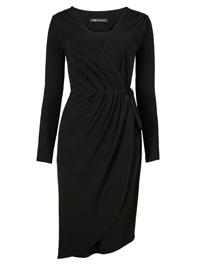 M&5 BLACK Asymmetric Long Sleeve Wrap Midi Dress - Size 6 to 22